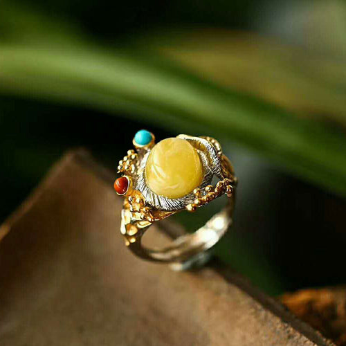 Floral Butterscotch Amber Gem Sterling Silver Ring