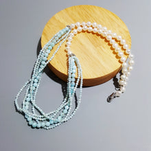 Load image into Gallery viewer, Blue Larimar Pearl String Necklace Sterling Silver