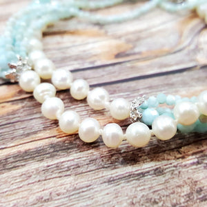 Blue Larimar Pearl String Necklace Sterling Silver