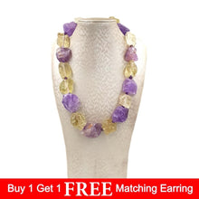 Load image into Gallery viewer, Amethyst & Lemon Quartz Rock Candy Necklace