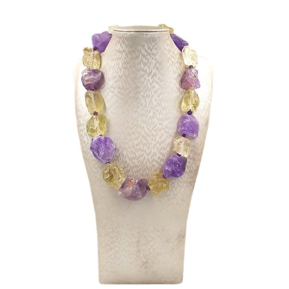 Amethyst & Lemon Quartz Rock Candy Necklace