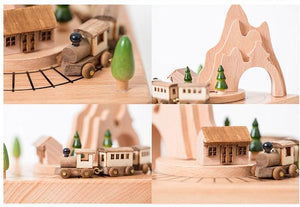 Mini Wooden Train Carousel Music Boxes