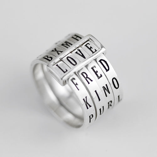 Love Words Spelling Ring Sterling Silver
