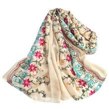 Load image into Gallery viewer, Sweet Floral Embroidered Chiffon Scarves