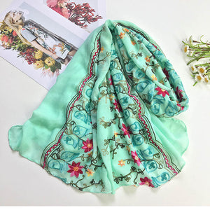 Sweet Floral Embroidered Chiffon Scarves