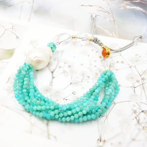 Tide Treasures Amazonite Baroque Pearl Quartz Carnelian Bracelet