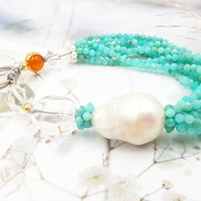 Load image into Gallery viewer, Tide Treasures Amazonite Baroque Pearl Quartz Carnelian Bracelet