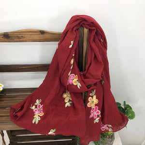 Large Floral Embroidered Sheer Summer Scarves