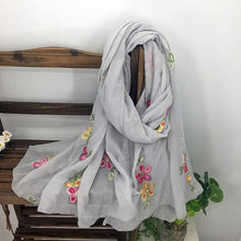 Load image into Gallery viewer, Large Floral Embroidered Sheer Summer Scarves