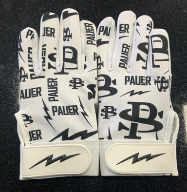 Pauer White Logo Batting Glove