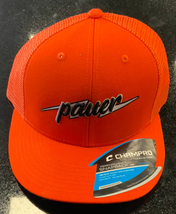 Pauer Orange Script Bolt Champro Snap Back