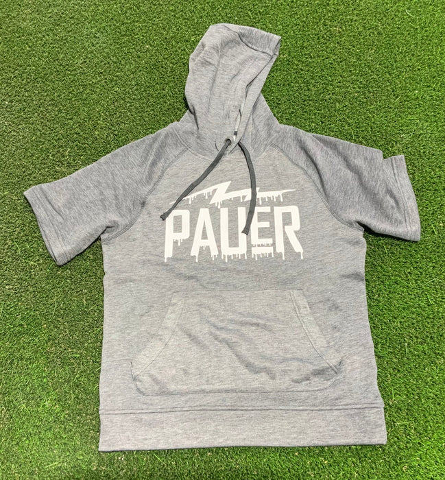 Pauer Grey/White Drip Short Sleeve Hooded Sweatshirt