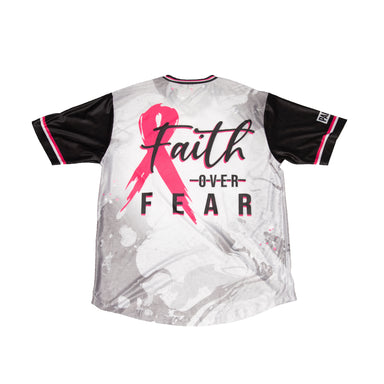 Pauer Faith Over Fear Breast Cancer Awareness Dri-Fit V-Neck T-Shirt