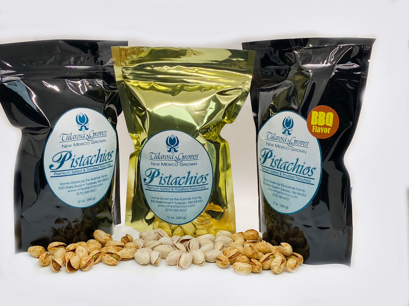 3-Pack Pistachios (Chile, Salted Roasted, BBQ) Resealable Pouches