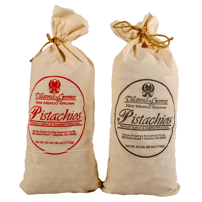 Two 2.5 Pound Cloth Sacks of Tularosa Groves Pistachios, One Salted and One Red Chile
