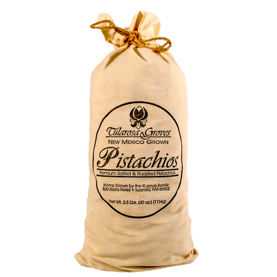 One 2.5 Pound Cloth Sack of Tularosa Groves Pistachios, Red Chile Flavored