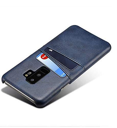 Leather Back Cover with 2 Card Slots Wallet Phone Case Blue Galaxy S9 Plus