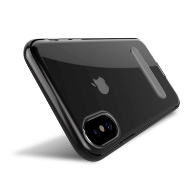 Transparent Case with Magnetic Metal Kickstand for Apple iPhone X (Black)