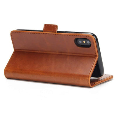 iPhone X & Xs Genuine Leather Wallet Case Cover, Flip Stand, Card Slot, Stylish, Brown