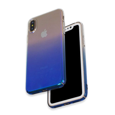Apple iPhone X & Xs Colorful Skin Hard Back Cover Slim Glaze Case Dual Tone (Blue)
