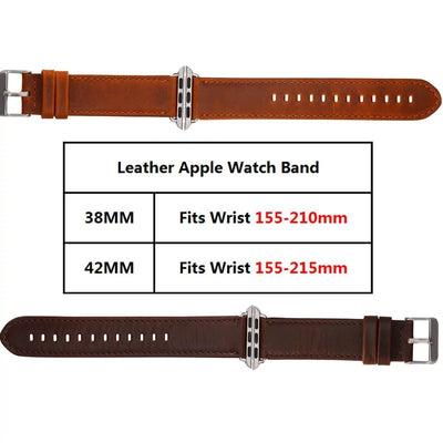 Leather Brown Strap with Silver Metal Clasp for Apple Watch Series 3 Series 2 Series 1