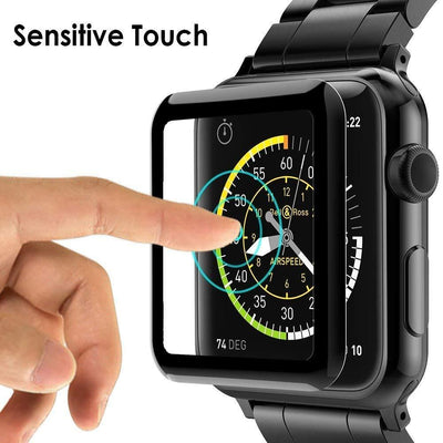 Tempered Glass Screen Protector for Apple Watch Series 3/2/1 (Black)