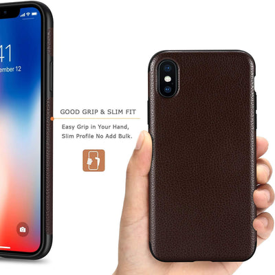 Compatible with iPhone X & XS Case Slim Fit Leather Cover