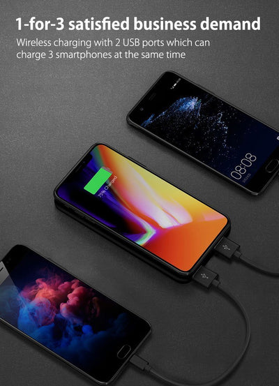 Wireless Power Bank with 2 USB Ports