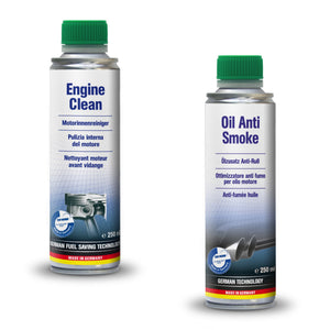 AUTOPROFI Engine Clean - 250ml & OIL ANTI SMOKE - 250ML - KIT Made in Germany