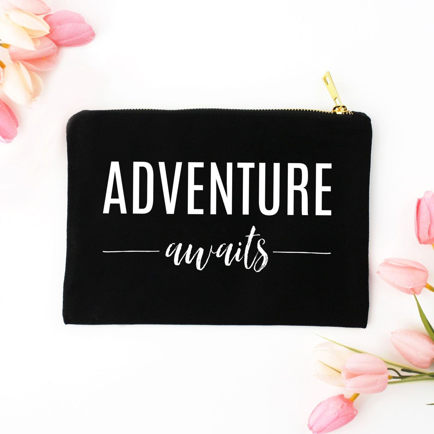 Adventure Awaits black cotton canvas zippered cosmetic makeup bag from Modern Trail
