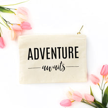 Load image into Gallery viewer, Adventure Awaits natural cotton canvas zippered cosmetic makeup bag from Modern Trail