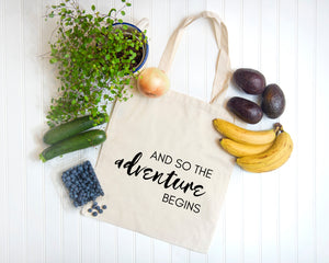 And so the Adventure Begins natural cotton canvas tote bag |by Modern Trail