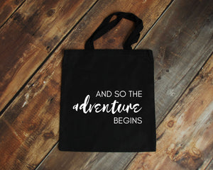 And so the Adventure Begins black cotton canvas tote bag | Modern Trail