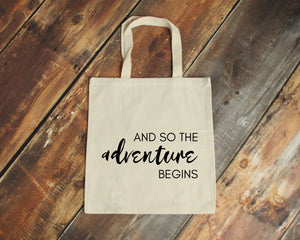 And so the Adventure Begins natural cotton canvas tote bag | Modern Trail