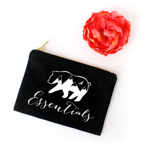 Bear Essentials boho black cotton canvas zippered cosmetic makeup bag from Modern Trail