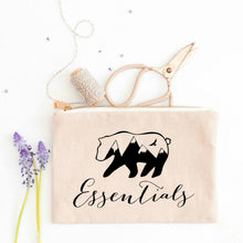 Load image into Gallery viewer, Bear Essentials boho natural cotton canvas zippered cosmetic makeup bag from Modern Trail