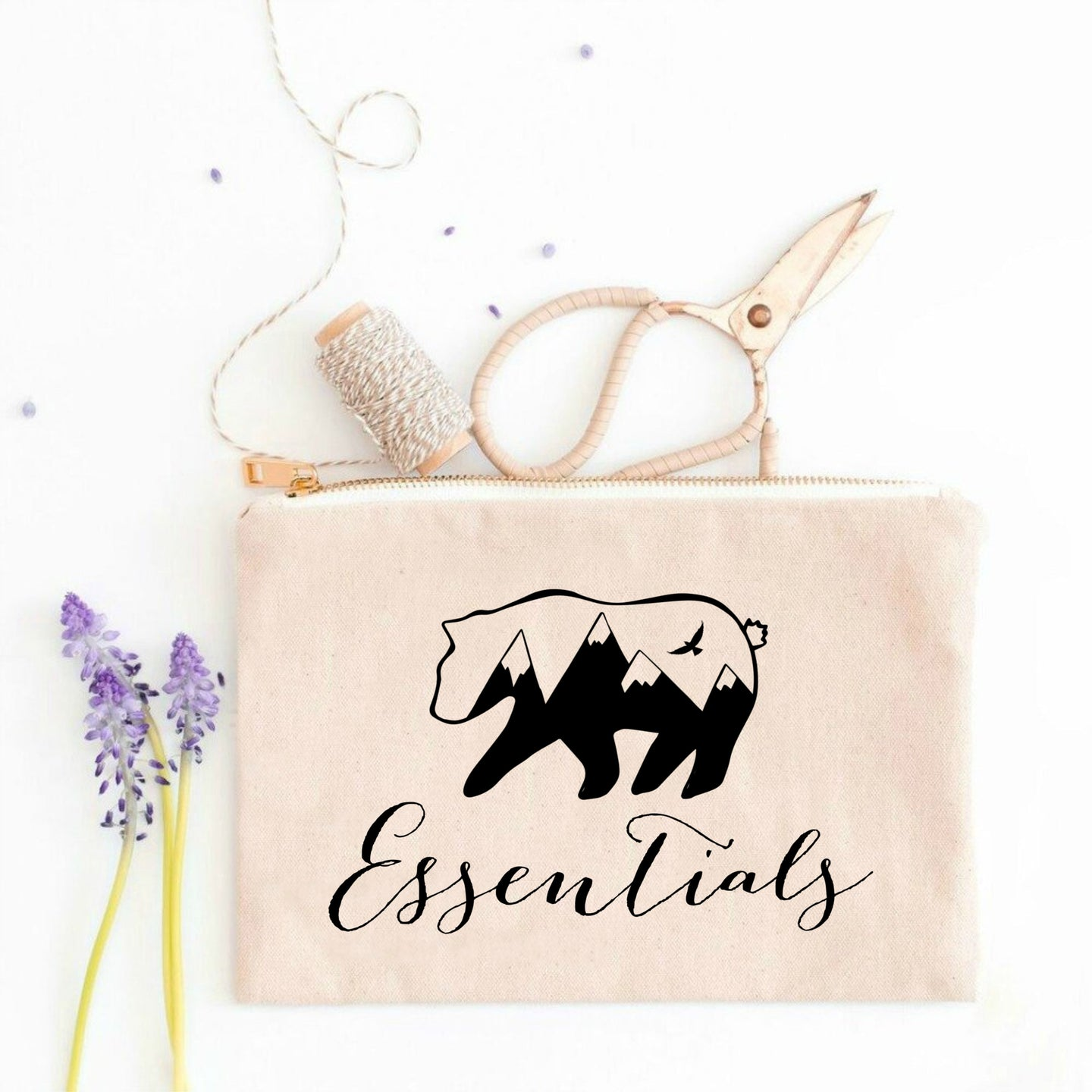 Bear Essentials boho natural cotton canvas zippered cosmetic makeup bag from Modern Trail