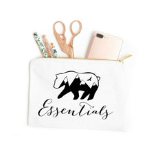 Load image into Gallery viewer, Bear Essentials boho white cotton canvas zippered cosmetic makeup bag from Modern Trail