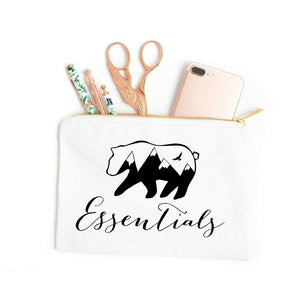 Bear Essentials boho white cotton canvas zippered cosmetic makeup bag from Modern Trail