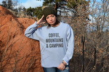 Load image into Gallery viewer, Coffee Mountains & Camping Crewneck Sweatshirt