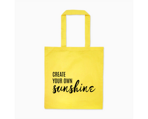 Create Your Own Sunshine yellow cotton canvas tote bag | Modern Trail