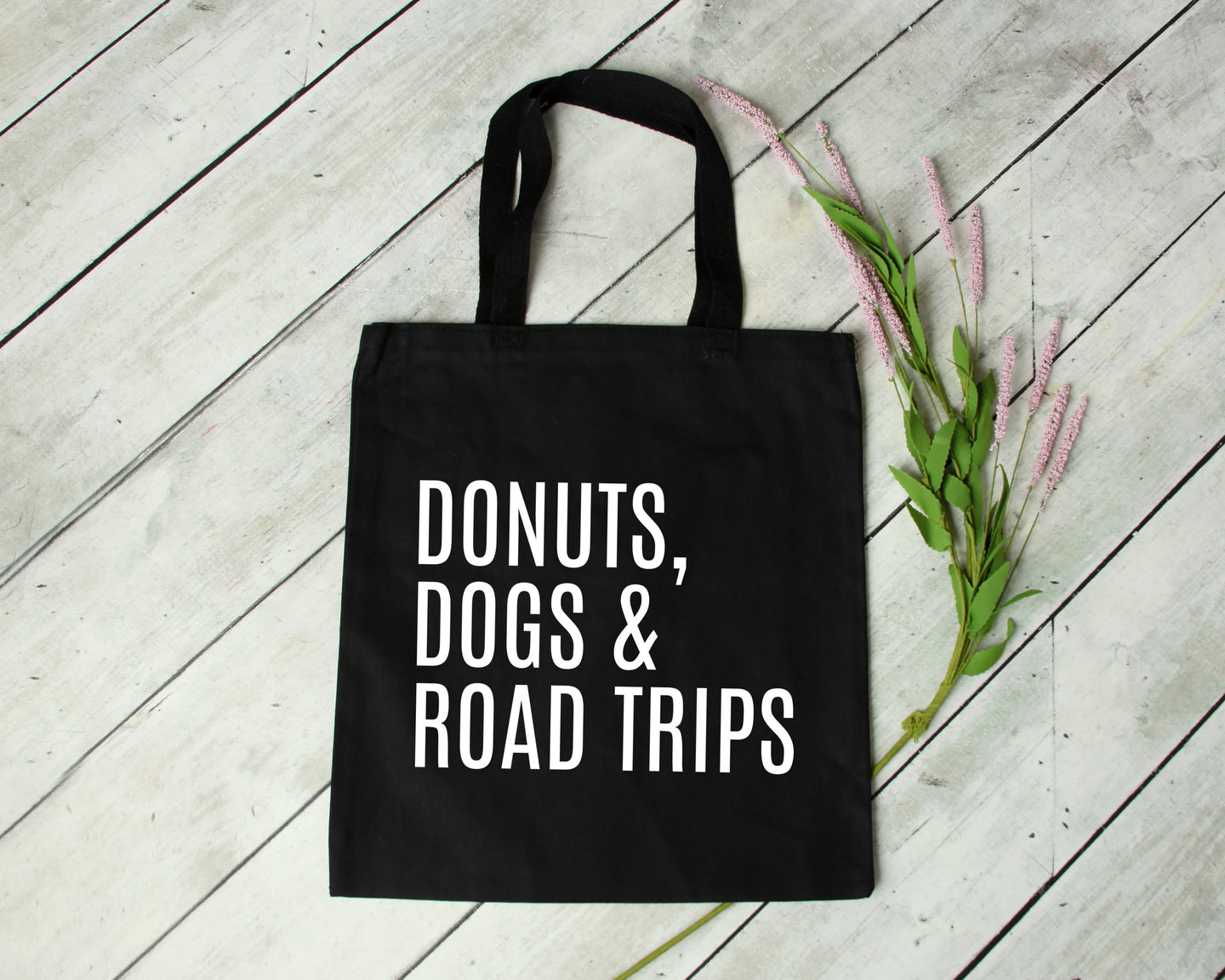 Donuts Dogs & Road Trips reusable black canvas tote bag by Modern Trail