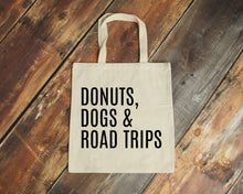 Load image into Gallery viewer, Donuts Dogs & Road Trips reusable natural canvas tote bag by Modern Trail