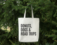 Load image into Gallery viewer, Donuts Dogs & Road Trips reusable white canvas tote bag by Modern Trail