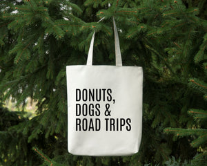 Donuts Dogs & Road Trips reusable white canvas tote bag by Modern Trail