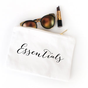 Essentials white cotton canvas zippered cosmetic makeup bag from Modern Trail