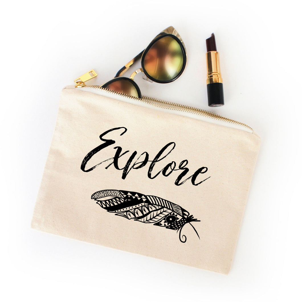 Explore boho natural cotton canvas zippered cosmetic makeup bag from Modern Trail