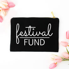Load image into Gallery viewer, Festival Fund boho black cotton canvas zippered cosmetic makeup bag from Modern Trail