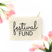 Load image into Gallery viewer, Festival Fund boho natural cotton canvas zippered cosmetic makeup bag from Modern Trail