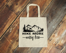 Load image into Gallery viewer, Hike More Worry Less natural cotton canvas tote bag | Modern Trail